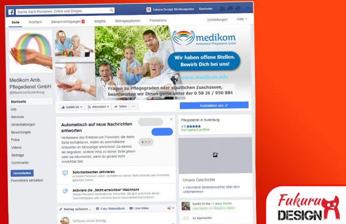 Facebook Medikom Seite für Pflegedienste