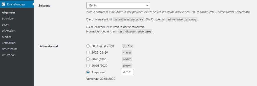 Wordpress Einstellungen Datum (und Zeitzone) einstellen
