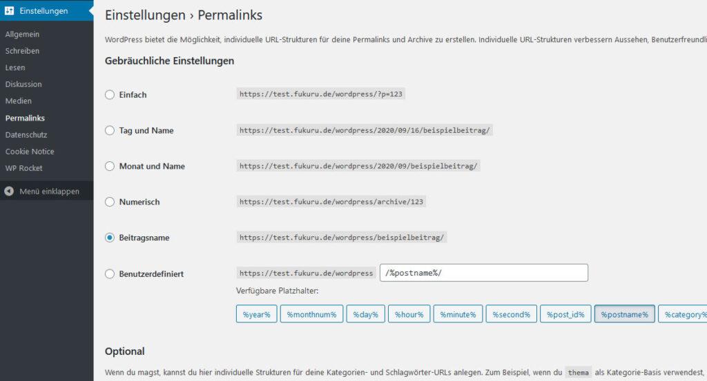 wordpress permalinks optionen