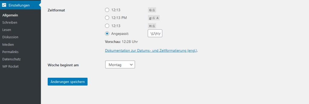 Wordpress Einstellungen Uhrzeit (und Wochenbeginn) einstellen